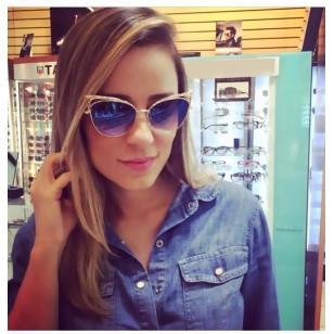 Óculos Dourado Lente Azul Ref 6716