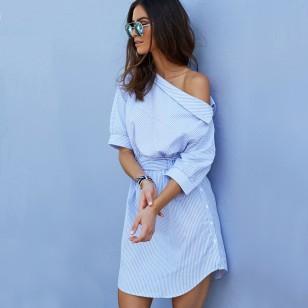 Vestido Elegante Listrado Azul Ref 6724