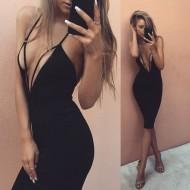 Vestido Blogueiras com Decote em V Ref 6772