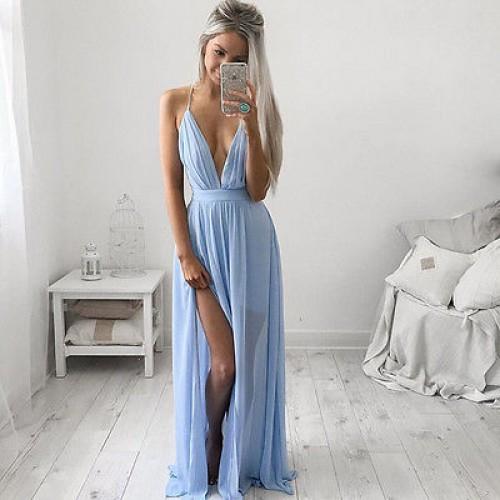 f9ccb438b Vestido Longo Azul Ref 6778