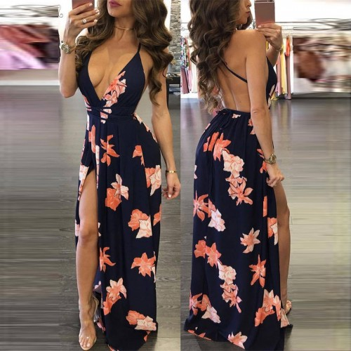 22c5f11a4 Vestido Longo com Fenda Floral Ref 6794