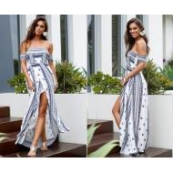 Vestido Longo Etnico Fenda Ref 6815