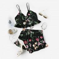 Conjunto Floral Top e Shorts Ref 7007