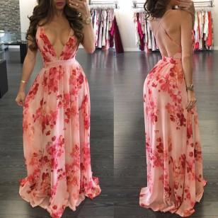 Vestido Longo Floral Decote V Ref 7008
