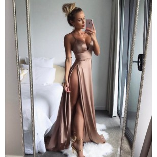 Vestido Longo com Fenda Ref 7026
