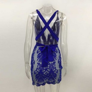 Vestido de Festa com Paetês Lantejoulas Ref 6924