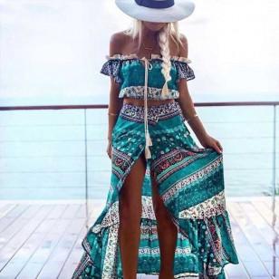 Vestido Longo Estampa Étnica Ref 6932