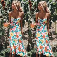 Vestido Tropical Saia Midi Drapeada Ref 7425