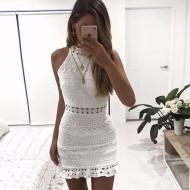 Vestido Branco de Renda Crochet Gola Moda Ref 7315