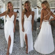 Vestido Reveillon 2019 Branco com Fenda Ref 7407