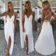 Vestido Pré Wedding Branco com Fenda Ref 7407