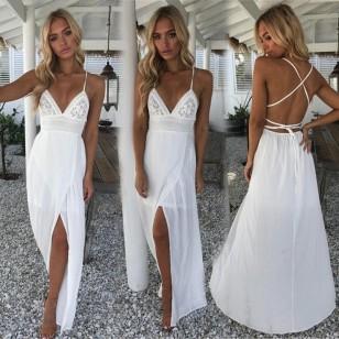 Vestido Reveillon Branco com Fenda Ref 7407
