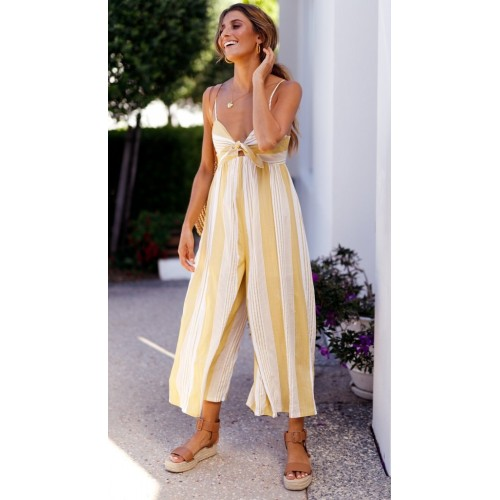 Macacão Pantalona Amarelo Listrado com Alças Ref 7429 f365aaca7c7