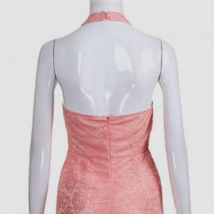 Vestido Rose Longo Gola Chocker para Festa Formatura Casamento Ref 7437