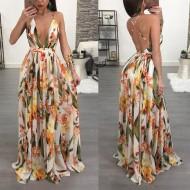 dfdbac2085 Vestido Longo com Fenda Floral Ref 6794