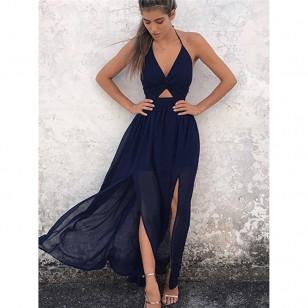 Vestido Longo Fendas na Lateral Moda 2019 Ref 7447