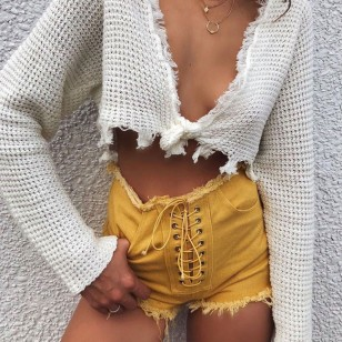 Shortinho Jeans Mostarda Amarrado Ref 7458