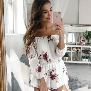 Macaquinho Ciganinha Branco Floral Blogueira Ref 7156