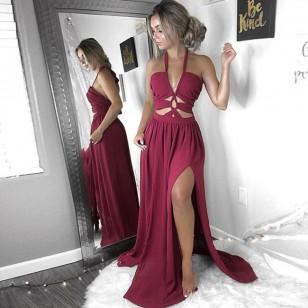 Vestido de Festa Decote em V profundo com alças Ref 7197