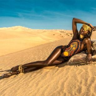 Body Maiô Africana Etnico Preto com Amarelo Ref 7217