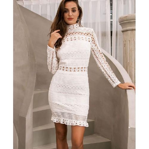 f890c04877 Vestido Crochet Renda Branco ou Preto Manga Longa Ref 7226