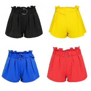 Shorts plissado com cinto varias cores Ref 7227