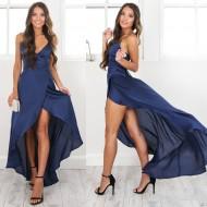 Vestido Longo Envelope de Festa Azul com Fenda Ref 7258