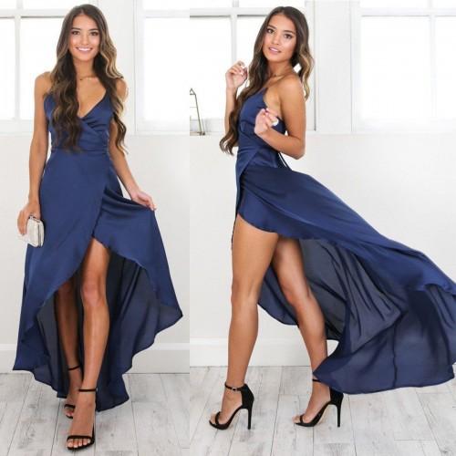 ef051082f Vestido Longo Envelope de Festa Azul com Fenda Ref 7258