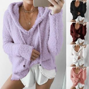 Blusa de Lã para Inverno com Capuz e Cordão 7277