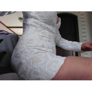 Vestido de Renda Branco de Festa Curto Manga Longa Decotado Ref 7309