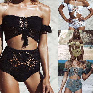 Conjunto Top e Shorts Crochet Renda Praia Ref 7310