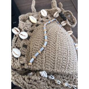 Biquini Artesanal de Croche com Buzios Ref 7018