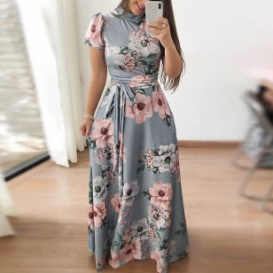 Vestido Longo Flores com Faixa Amarrar Cintura Ref 7321