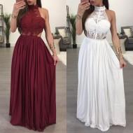 Vestido de Festa Branco ou Vinho Renda Plissado Longo Ref 7322