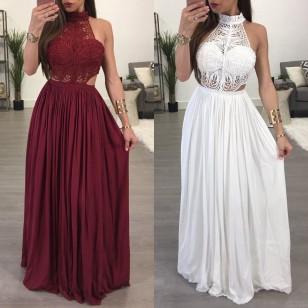 Vestido de Festa Branco ou Marsala Renda Plissado Longo Ref 7322