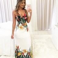 Vestido Longo Estampa Barra Floral e Busto Ref 7323