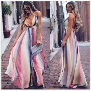 Vestido Colorido Listrado Vertical Longo Decotado Trend Ref 7325