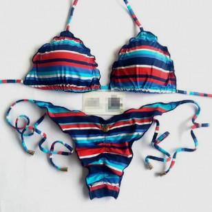 Biquini Verão listrado Azul com Vermelho Ref 7340