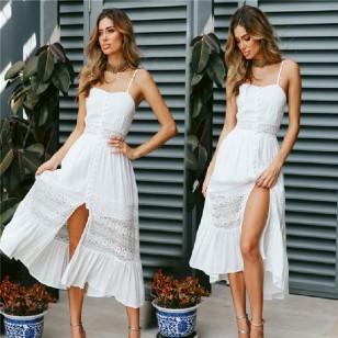 Vestido Pré Wedding Branco com Renda Ref 7406