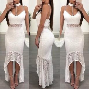 Vestido Glamour Renda Longo Ref 7080