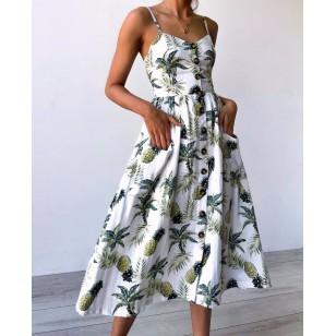 Vestido Floral com Botões Ref 7132
