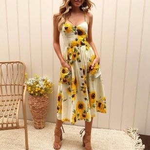 Vestido Floral com Botões Ref 7134