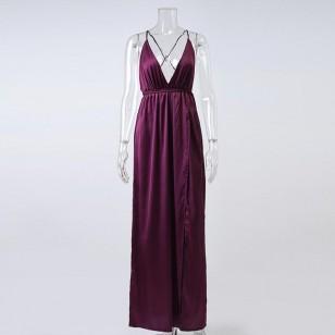 Vestido Marsala em Cetim de Seda Ref 7488