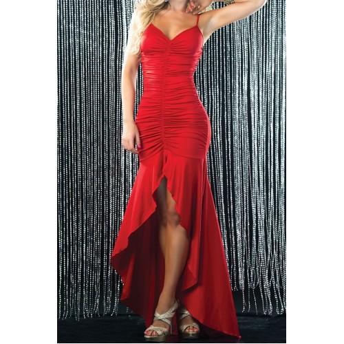 7a31c5c30 Vestido longo canelado de festa vermelho ou preto Ref 7487