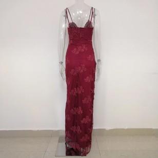 Vestido Marsala com Fenda Festa Eventos Luxo Ref 7501