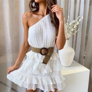 Vestido Branco Plissado 2019 Coleção Nova Ref 7512