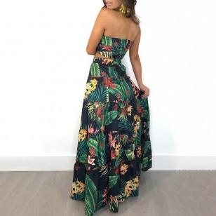Conjunto Cropped com Saia Longa Verde Floral Ref 7812