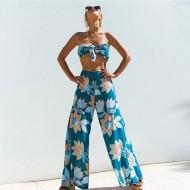 Conjunto de Top Cropped com Calça Pantalona Verão Ref 7813