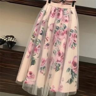 Conjunto Moda Evangélica T Shirt com Saia Floral Ref 7814