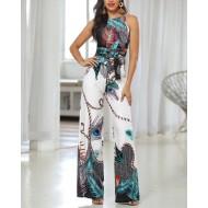 Macacão Estampado Pantalona Verão 2020 Ref 7817